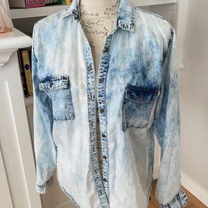 Acid wash denim blouse